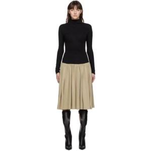 Vejas Black and Beige Basque Mid-Length Dress