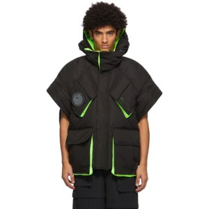 Chen Peng Black and Green Down Half-Sleeve Jacket
