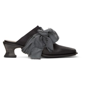 Cherevichkiotvichki Black Leather Bow Mules