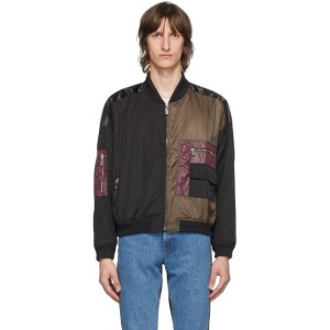 Enfants Riches Deprimes Black and Khaki Colorblock Bomber Jacket