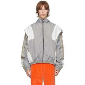 Martine Rose Grey and White Knot Zip-Up Track Jacket