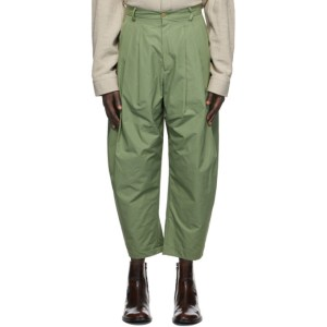 Hed Mayner Green Cotton 8 Pleat Trousers