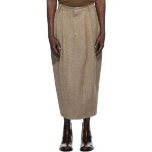Hed Mayner Beige Wool Herringbone Pleated Skirt