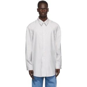 Hed Mayner White and Navy Striped Raglan Shirt