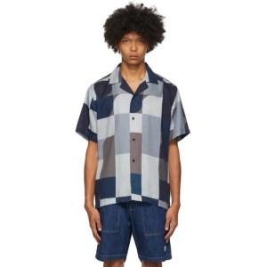 Saturdays NYC Indigo and Brown Geoblock Canty Shirt