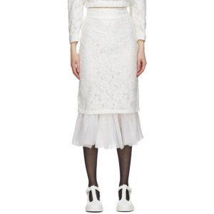 Shushu/Tong White Tulle Pencil Skirt