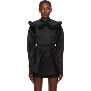 Shushu/Tong Black Round Collar Oversize Shirt
