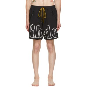 Rhude SSENSE Exclusive Black and White Contrast Swim Shorts