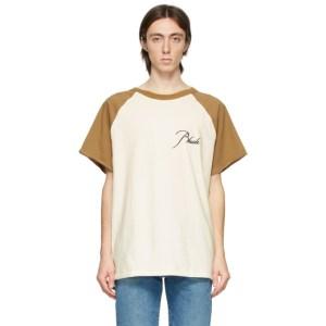 Rhude Off-White and Tan Raglan Logo T-Shirt