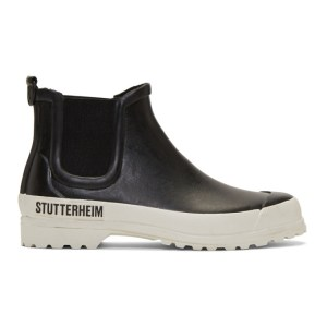 Stutterheim Black and White Novesta Edition Rainwalker Chelsea Boots