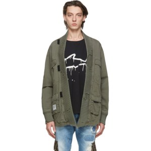 Greg Lauren Green Paul and Shark Edition Tactical Kimono Shirt