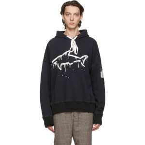 Greg Lauren Black Paul and Shark Edition Drip Shark Hoodie