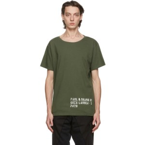 Greg Lauren Khaki Paul and Shark Edition Basic T-Shirt