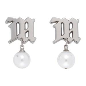 MISBHV Silver Pearl Monogram Earrings