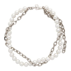 MISBHV Off-White and Silver Pearl Chain Choker Necklace