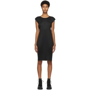 Pleats Please Issey Miyake Black Sleeveless Short Dress