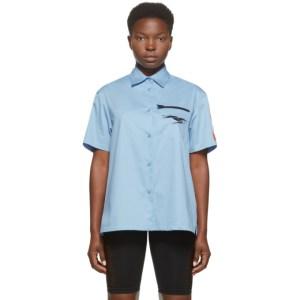 Heron Preston Blue Poplin Baseball Shirt