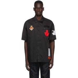 Heron Preston Black Ministry Of Defence Edition Baseball Short Sleeve Shirt