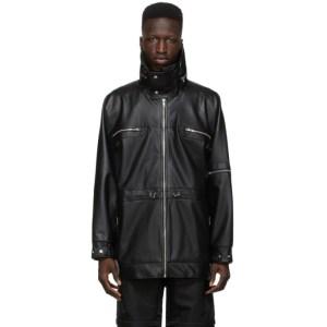 GmbH Black Faux-Leather Adhil Jacket