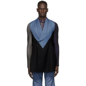 Kiko Kostadinov Blue and Black Triple Dart Vest