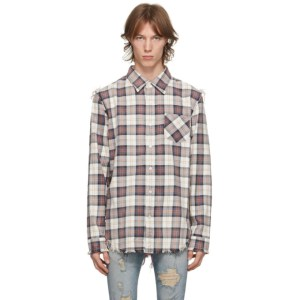 R13 Off-White and Purple Shredded Seam Shirt