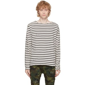 R13 Black and Off-White Breton Long Sleeve T-Shirt