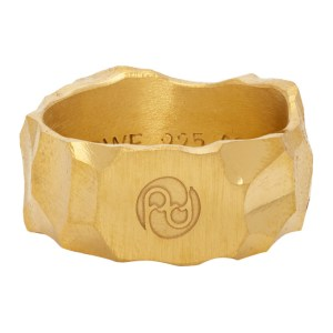 All Blues Gold Carved Rauk Narrow Ring