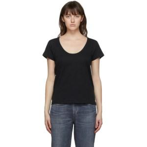 rag and bone Black The Slub U-Neck T-Shirt