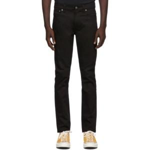 Nudie Jeans Black Dry Lean Dean Jeans
