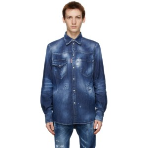 Dsquared2 Blue Straight Western Shirt
