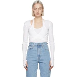 Helmut Lang White Wrap Long Sleeve T-Shirt