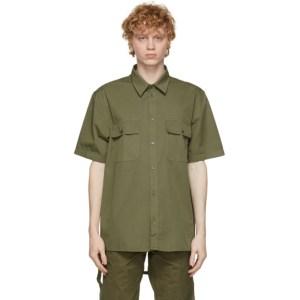 Helmut Lang Khaki Oversized Short Sleeve Shirt