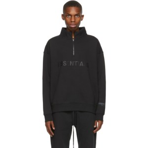 Essentials Black Half-Zip Mock Neck Sweatshirt