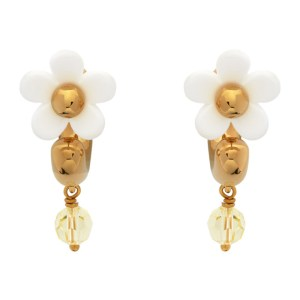 Marc Jacobs White and Gold The Daisy Mini Hoop Earrings