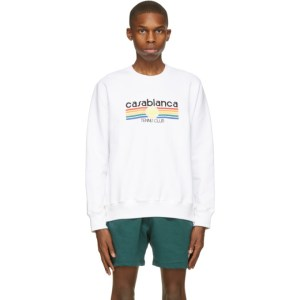 Casablanca White Tennis Stripe Sweatshirt