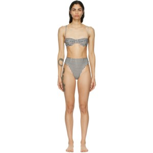 Haight Off-White and Black Vintage High-Leg Bikini