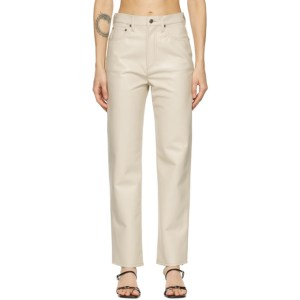 AGOLDE Off-White Leather 90s Pinch Waist Trousers