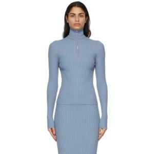 giu giu Blue Nonna Half-Zip Polo Sweater