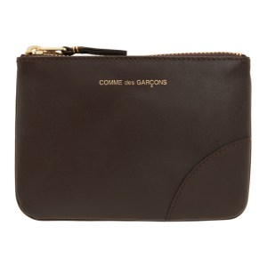 Comme des Garcons Wallets Brown Small Classic Line Zip Pouch