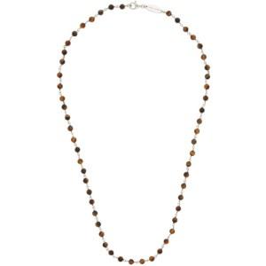 Giorgio Armani Brown and Silver Bead Necklace