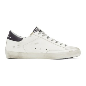 Golden Goose White and Navy Dotted Super-Star Sneakers