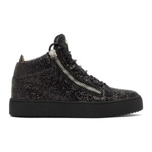 Giuseppe Zanotti Black Glitter Kriss High-Top Sneakers