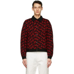 Givenchy Black and Red Wool Refracted Logo Bomber Jacket