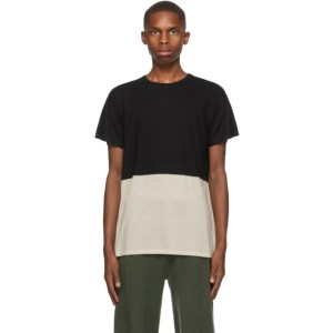 Frenckenberger SSENSE Exclusive Black and Beige Bicolor T-Shirt
