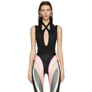 Mugler Black Crossover Bodysuit