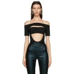 Mugler Black Off Shoulder Segmented Bodysuit