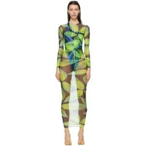 Louisa Ballou Blue and Green Mesh High Tide Long Dress