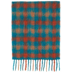 Andersson Bell SSENSE Exclusive Blue and Orange Check Veneto Scarf