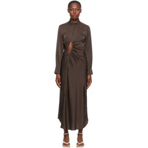 Georgia Alice SSENSE Exclusive Brown Satin Universe Dress