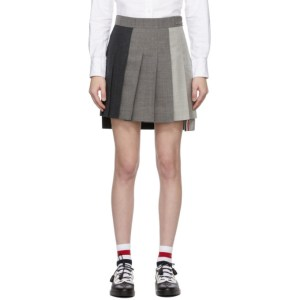Thom Browne Grey Super 120s Dropped Back Pleated Miniskirt